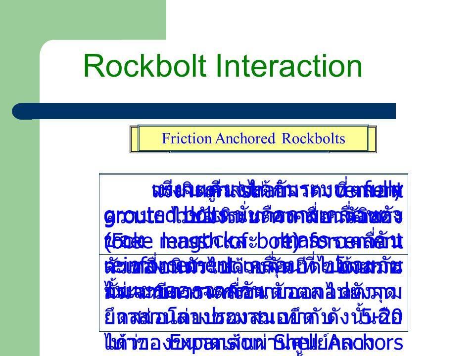 Rockbolt Interaction Friction Anchored Rockbolts.