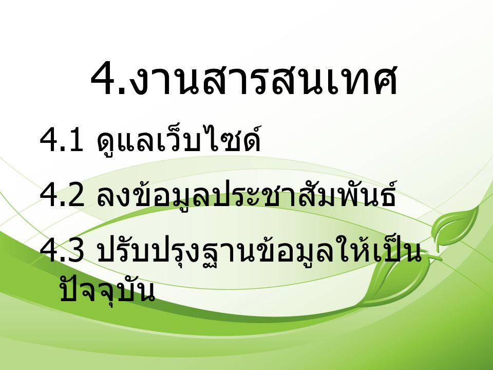 4.งานสารสนเทศ 4.1 ดูแลเว็บไซด์ 4.2 ลงข้อมูลประชาสัมพันธ์