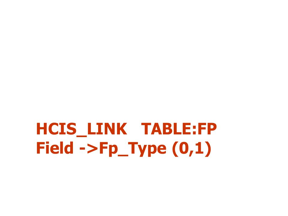 HCIS_LINK TABLE:FP Field ->Fp_Type (0,1)