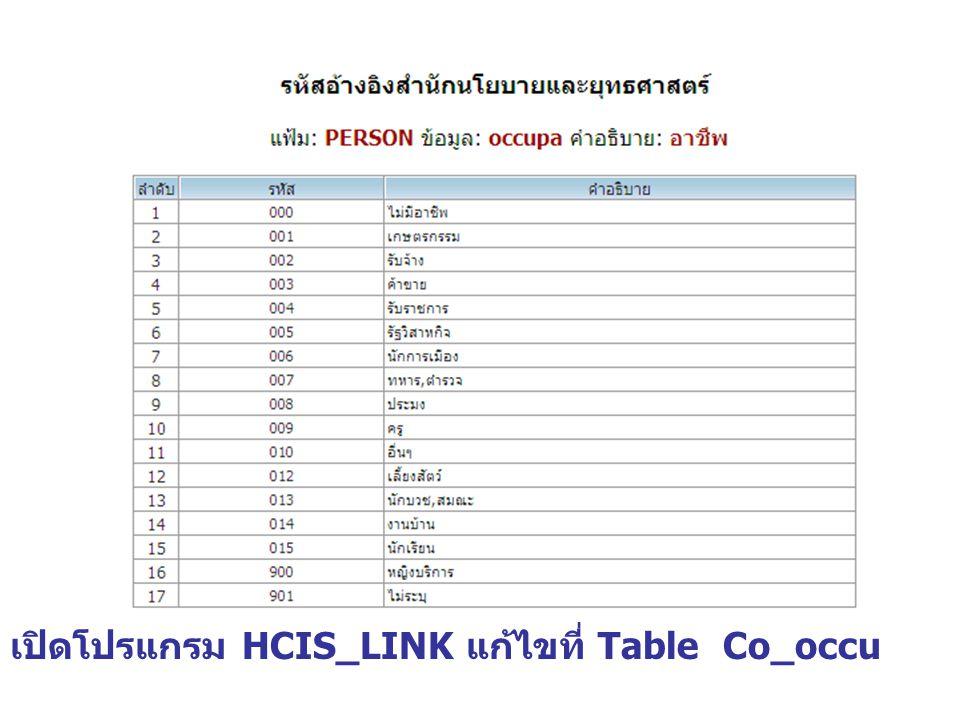 เปิดโปรแกรม HCIS_LINK แก้ไขที่ Table Co_occu