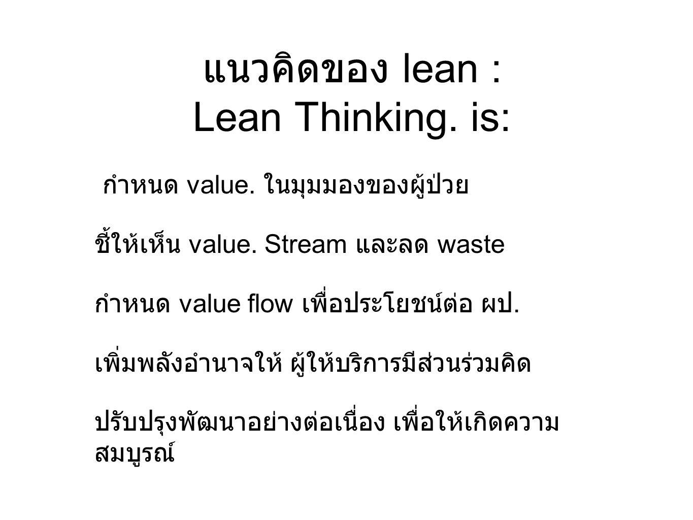 แนวคิดของ lean : Lean Thinking. is: กำหนด value. ในมุมมองของผู้ป่วย