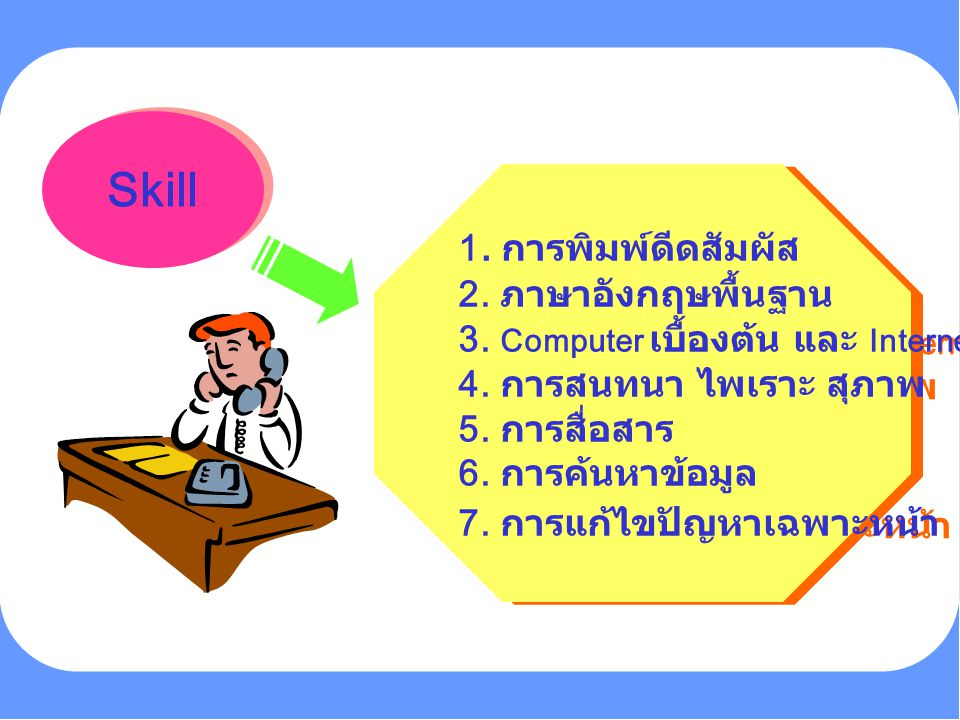 Skill 1. การพิมพ์ดีดสัมผัส 2. ภาษาอังกฤษพื้นฐาน