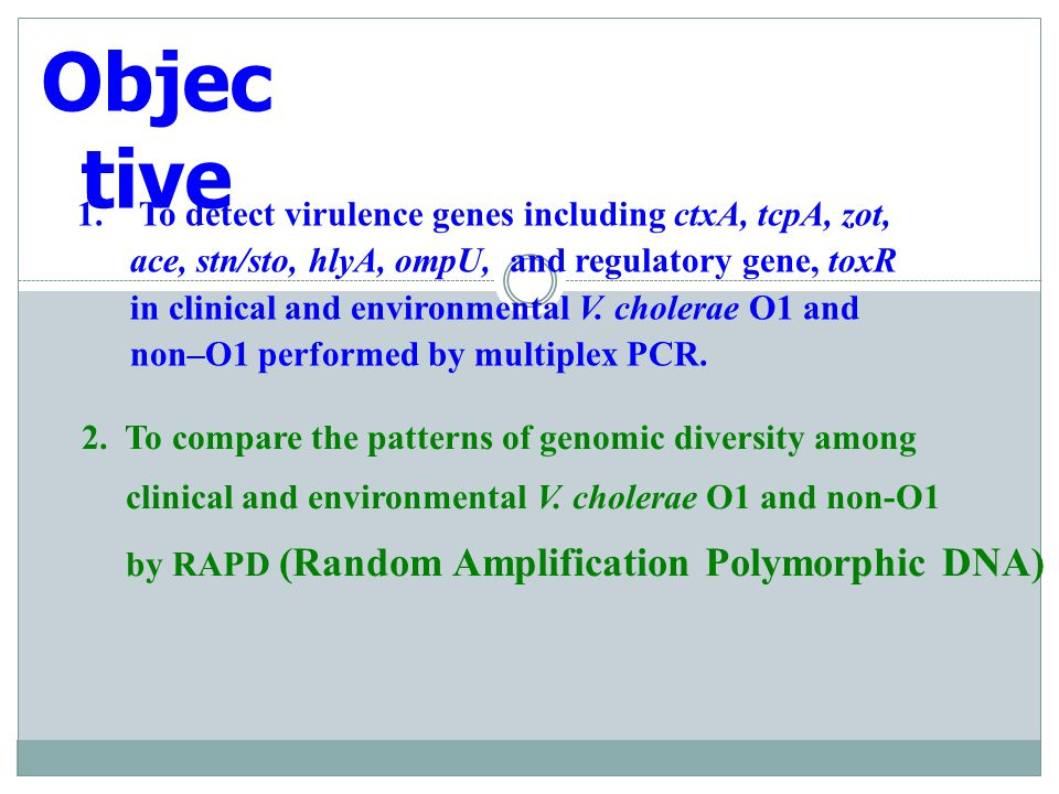 Objective To detect virulence genes including ctxA, tcpA, zot,