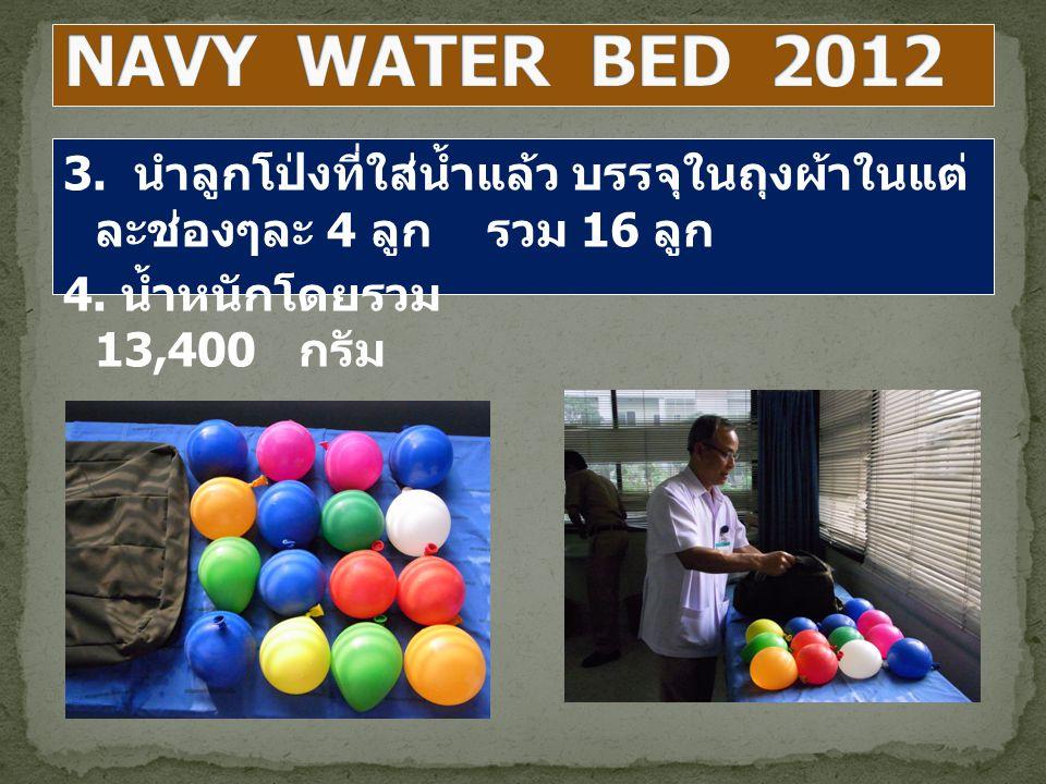 NAVY WATER BED 2012 3. นำลูกโป่งที่ใส่น้ำแล้ว บรรจุในถุงผ้าในแต่ละช่องๆละ 4 ลูก รวม 16 ลูก.