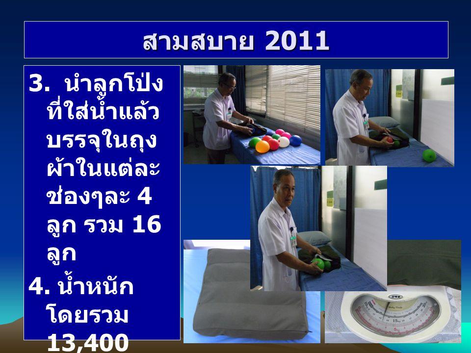 สามสบาย 2011 3. นำลูกโป่งที่ใส่น้ำแล้ว บรรจุในถุงผ้าในแต่ละช่องๆละ 4 ลูก รวม 16 ลูก.