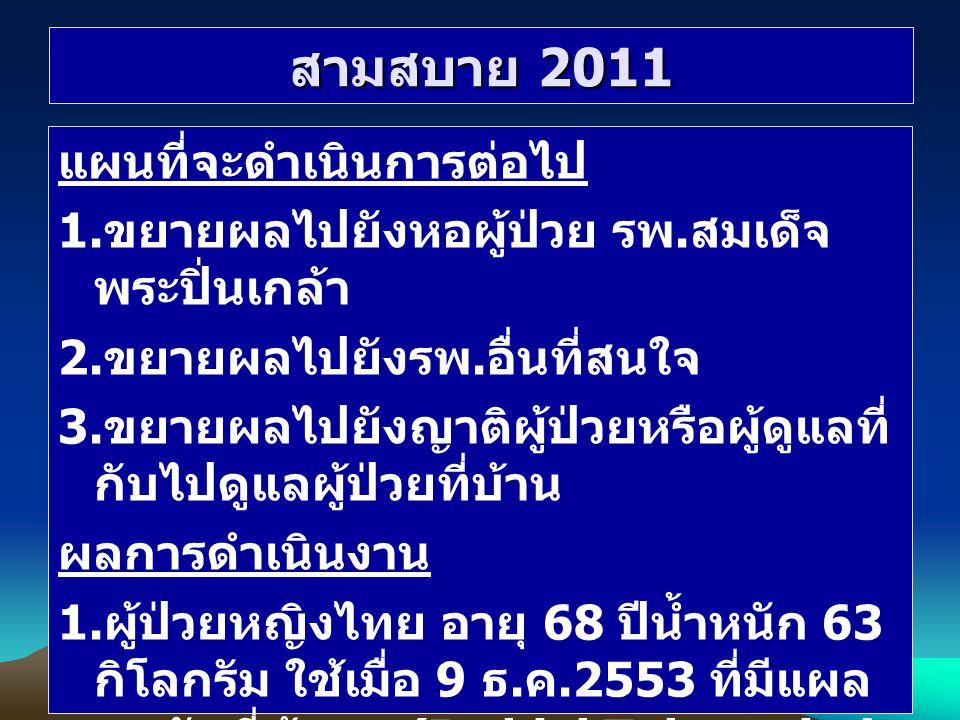 สามสบาย 2011 แผนที่จะดำเนินการต่อไป