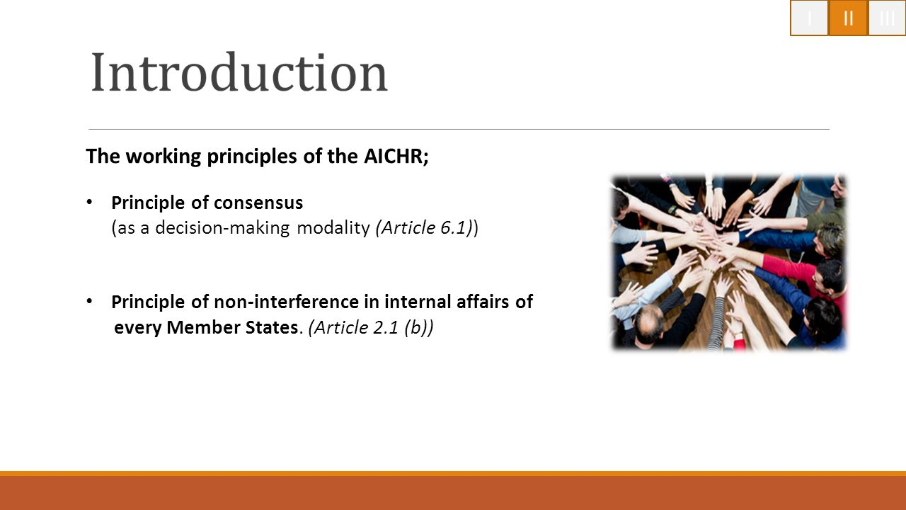 The working principles of the AICHR;