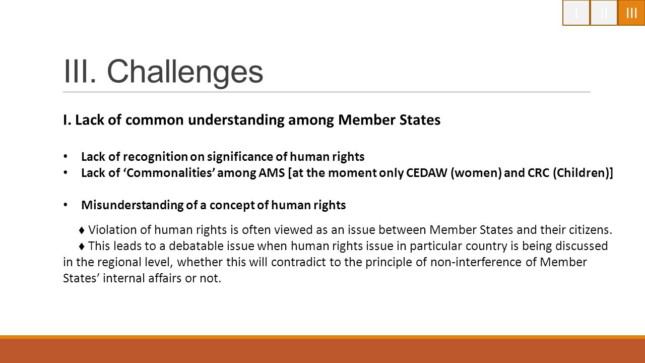 I II. III. III. Challenges. I. Lack of common understanding among Member States. Lack of recognition on significance of human rights.