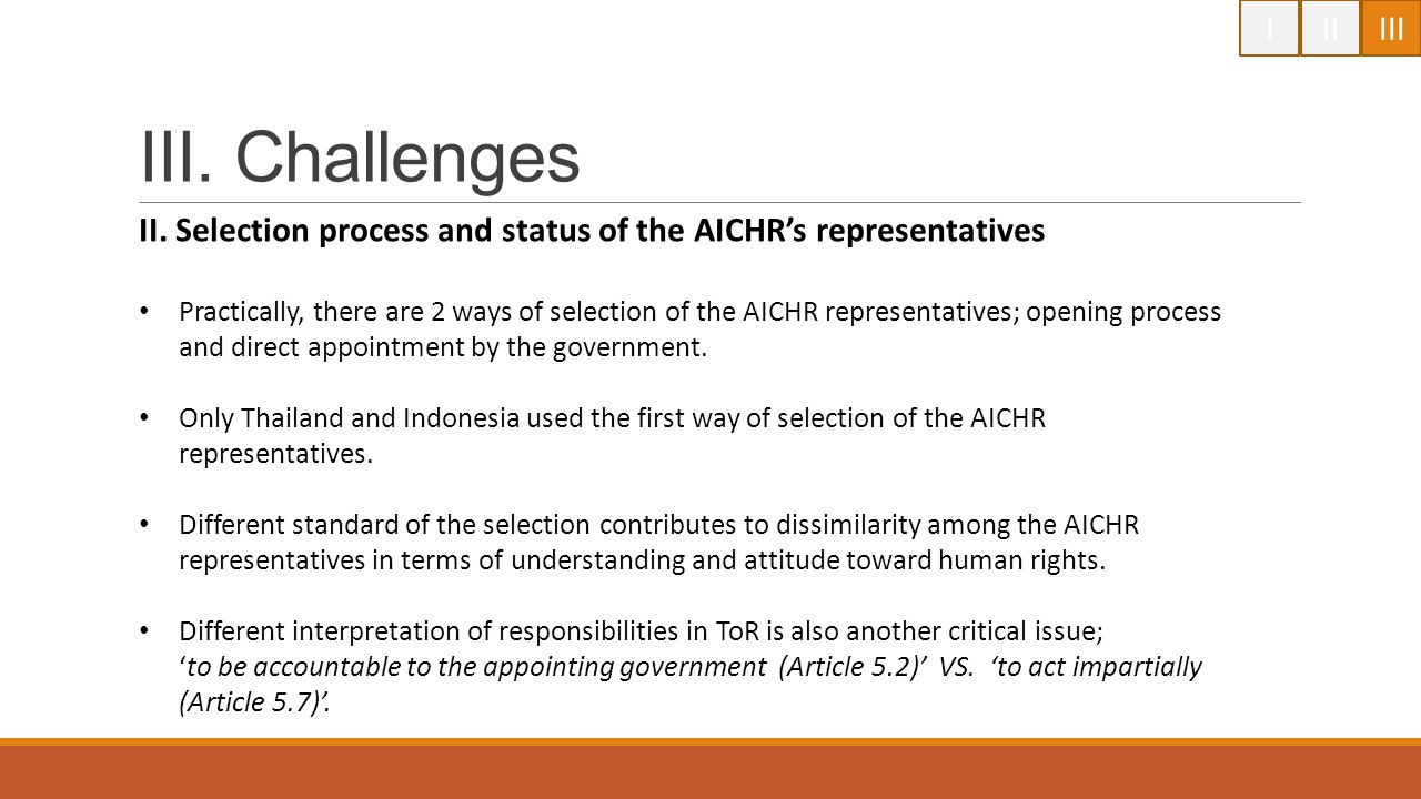 I II. III. III. Challenges. II. Selection process and status of the AICHR's representatives.