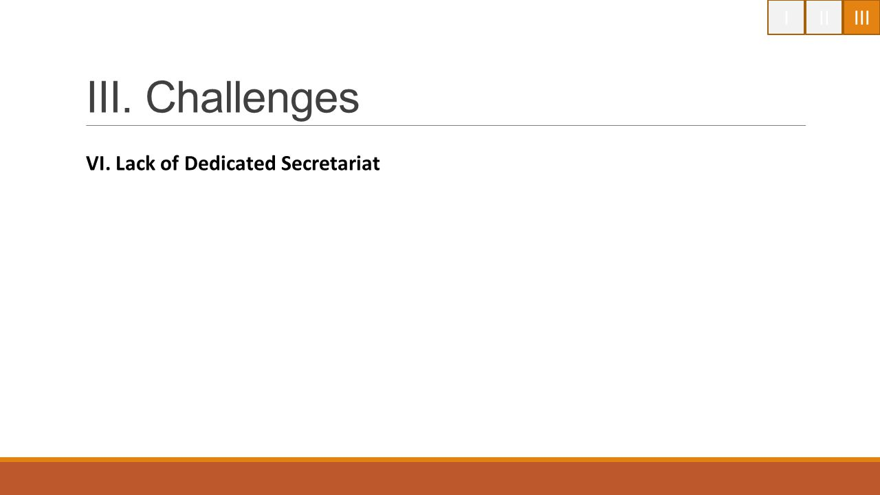 I II III III. Challenges VI. Lack of Dedicated Secretariat