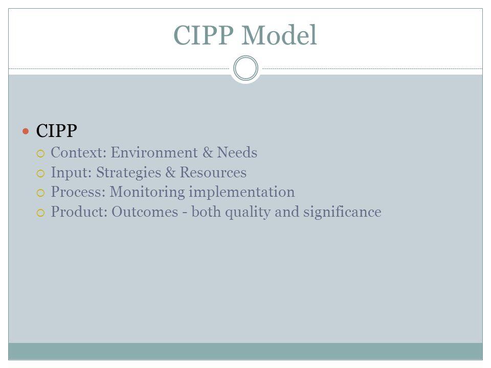 CIPP Model CIPP Context: Environment & Needs