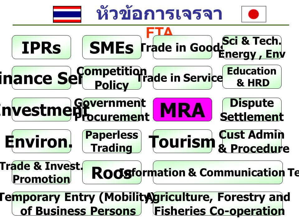 MRA หัวข้อการเจรจา FTA IPRs SMEs Finance Serv Investment Environ.