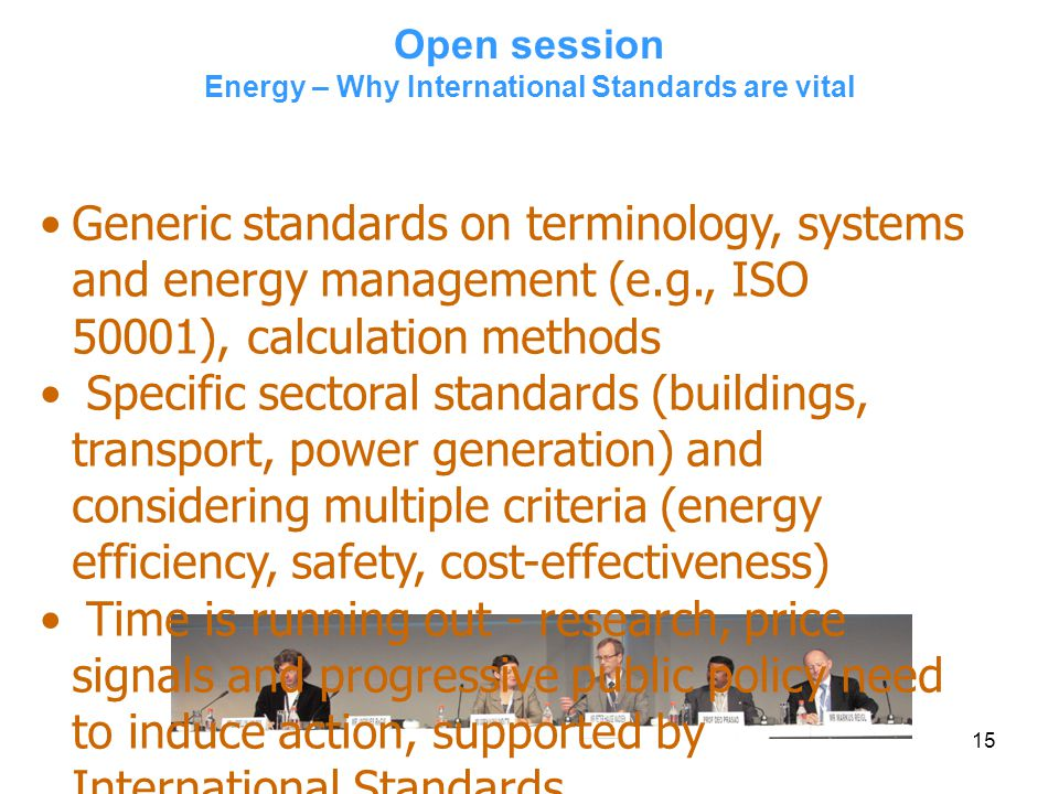 Open session Energy – Why International Standards are vital