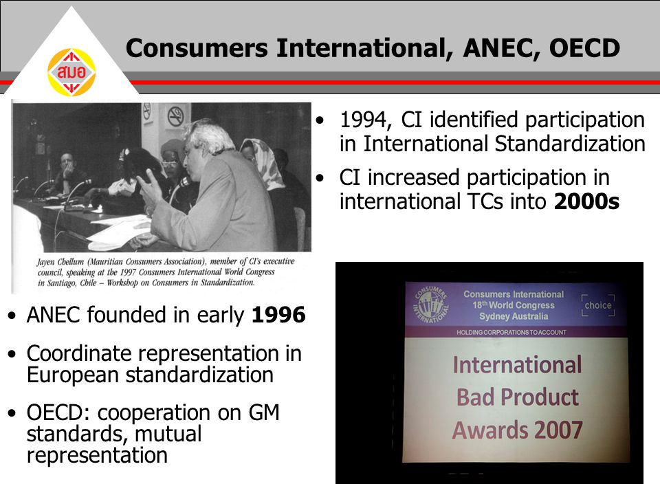 Consumers International, ANEC, OECD