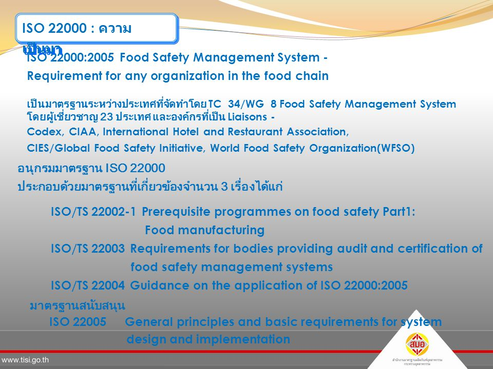 ISO 22000 : ความเป็นมา ISO 22000:2005 Food Safety Management System -