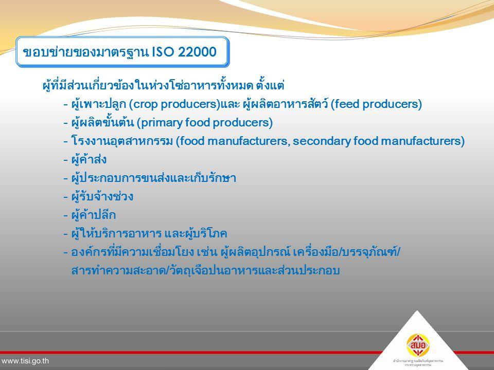 ขอบข่ายของมาตรฐาน ISO 22000
