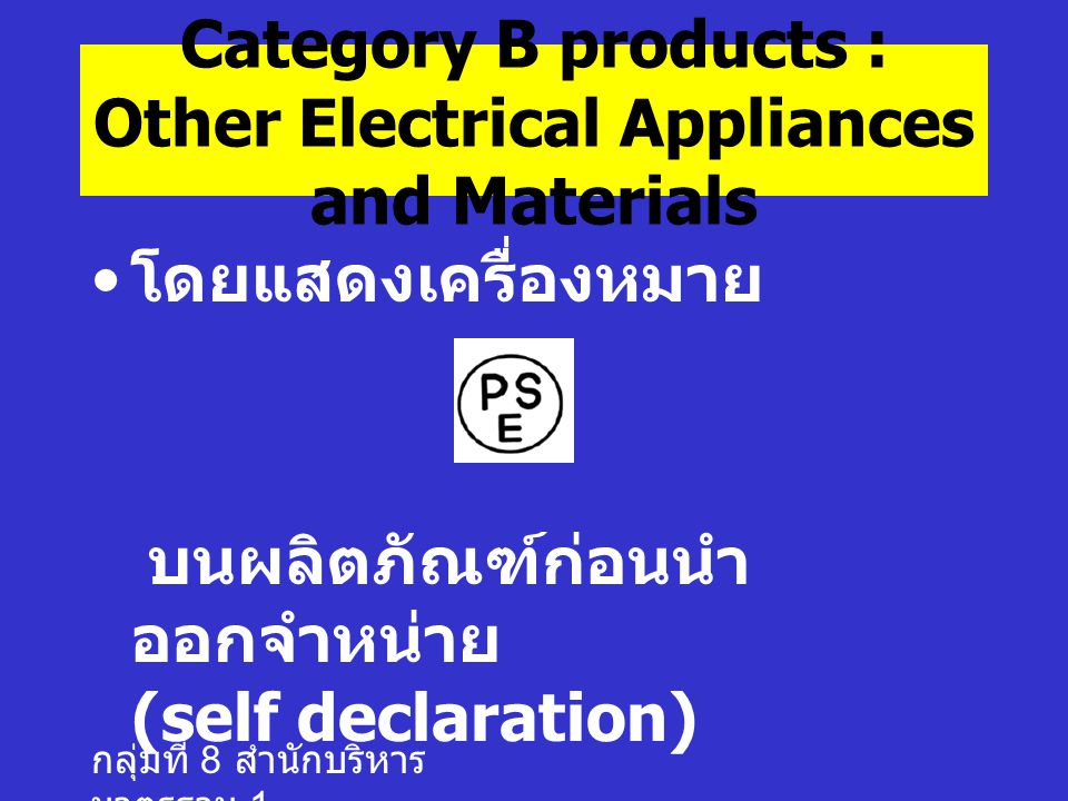 Category B products : Other Electrical Appliances and Materials