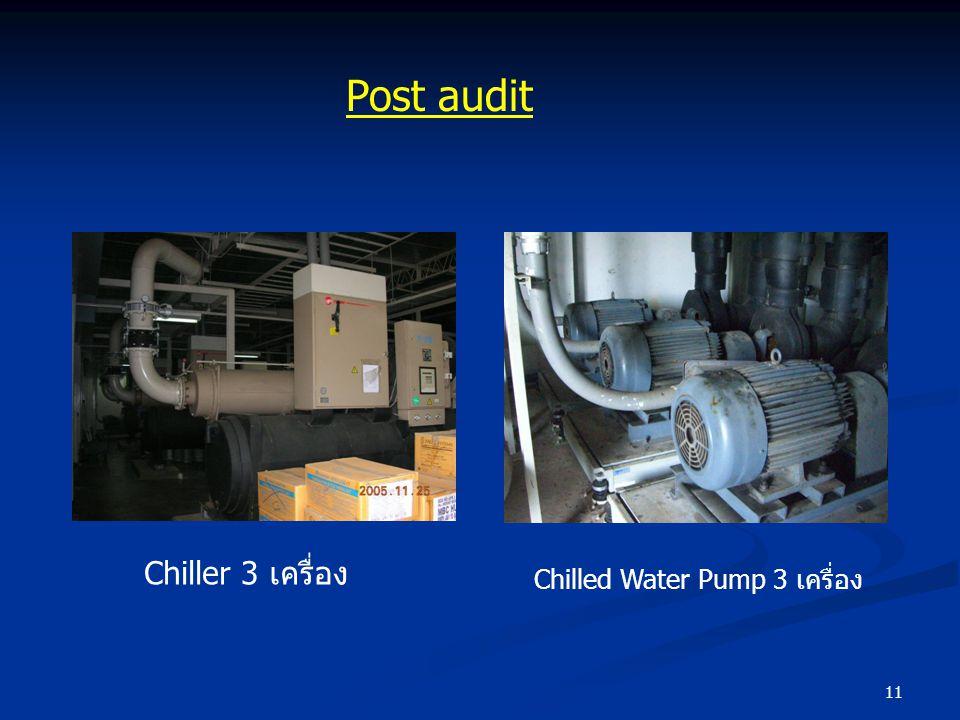 Post audit Chiller 3 เครื่อง Chilled Water Pump 3 เครื่อง