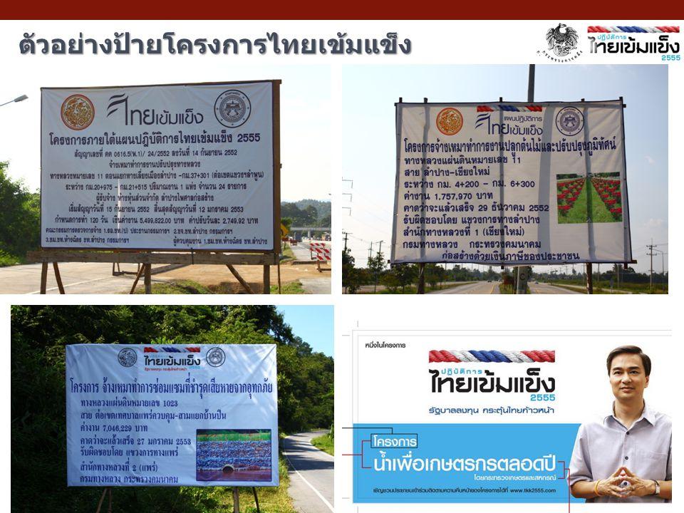 ตัวอย่างป้ายโครงการไทยเข้มแข็ง