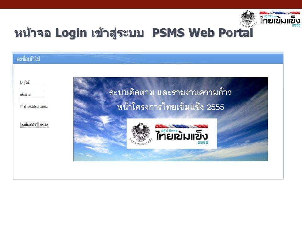 หน้าจอ Login เข้าสู่ระบบ PSMS Web Portal