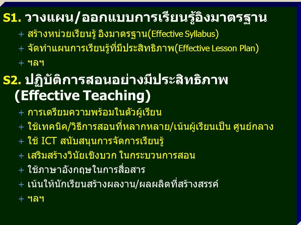 S1. วางแผน/ออกแบบการเรียนรู้อิงมาตรฐาน