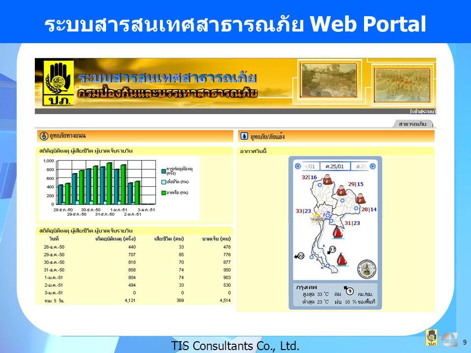 ระบบสารสนเทศสาธารณภัย Web Portal