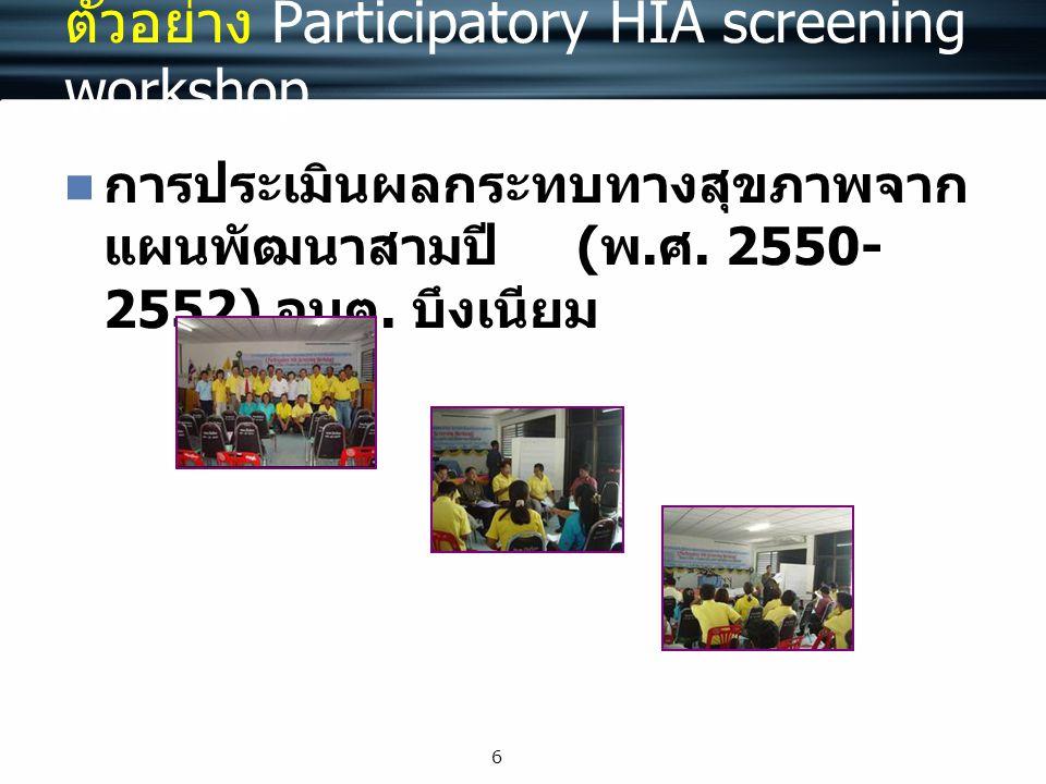 ตัวอย่าง Participatory HIA screening workshop