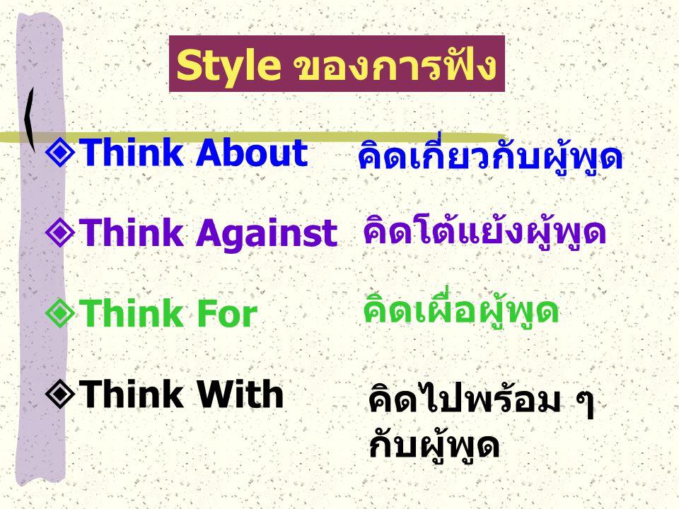 Style ของการฟัง Think About คิดเกี่ยวกับผู้พูด คิดโต้แย้งผู้พูด