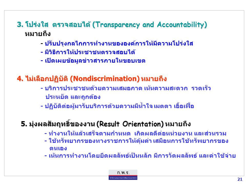 3. โปร่งใส ตรวจสอบได้ (Transparency and Accountability) หมายถึง