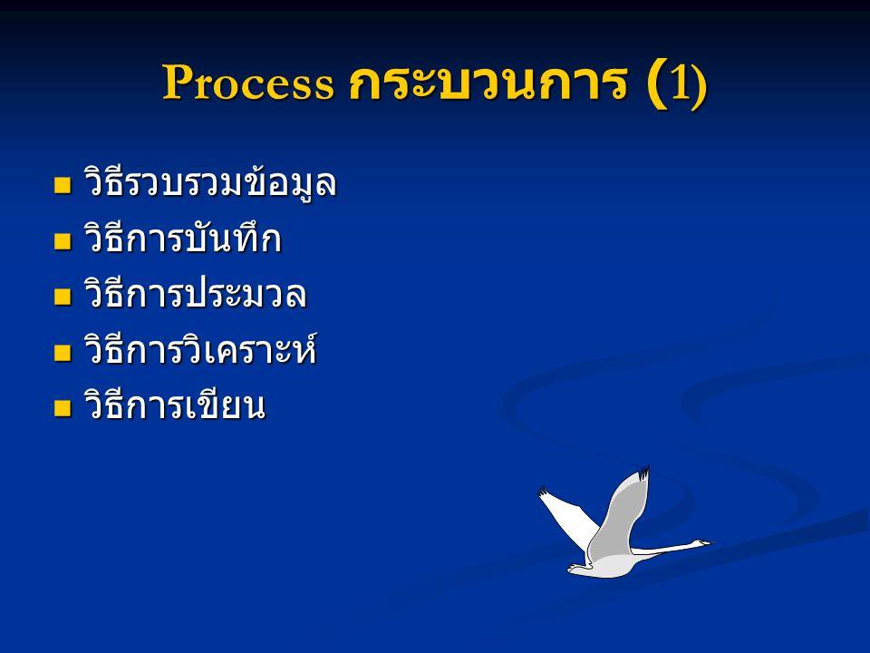 Process กระบวนการ (1) วิธีรวบรวมข้อมูล วิธีการบันทึก วิธีการประมวล
