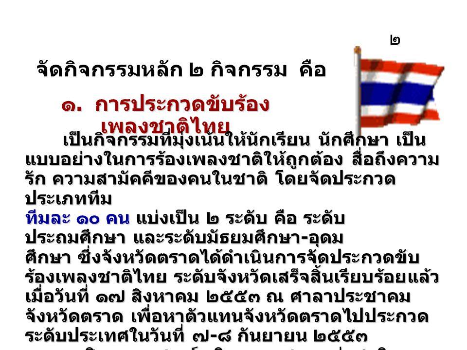 ๑. การประกวดขับร้องเพลงชาติไทย
