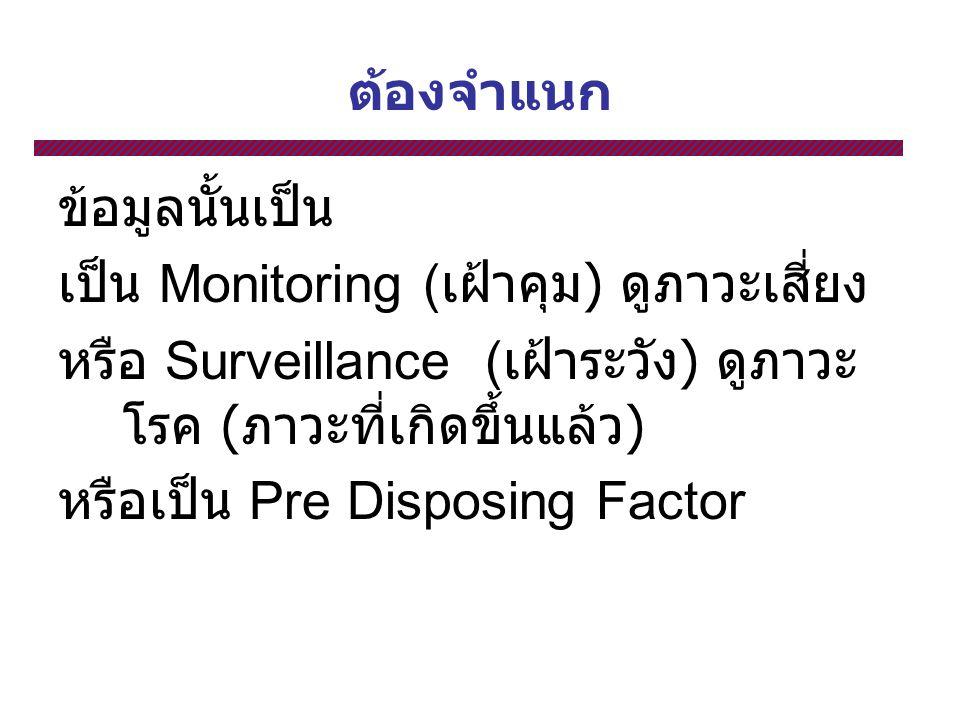 ต้องจำแนก ข้อมูลนั้นเป็น. เป็น Monitoring (เฝ้าคุม) ดูภาวะเสี่ยง. หรือ Surveillance (เฝ้าระวัง) ดูภาวะโรค (ภาวะที่เกิดขึ้นแล้ว)