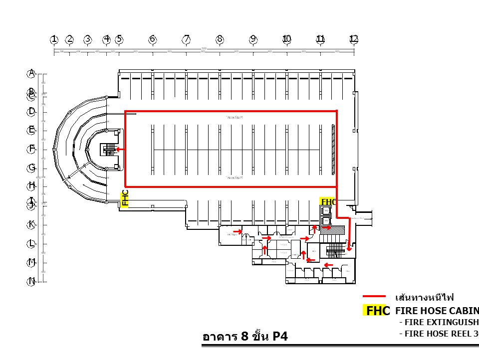 FHC อาคาร 8 ชั้น P4 เส้นทางหนีไฟ FIRE HOSE CABINET FHC FHC