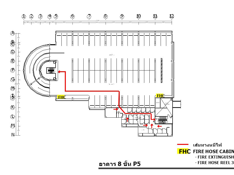 FHC อาคาร 8 ชั้น P5 เส้นทางหนีไฟ FIRE HOSE CABINET FHC FHC