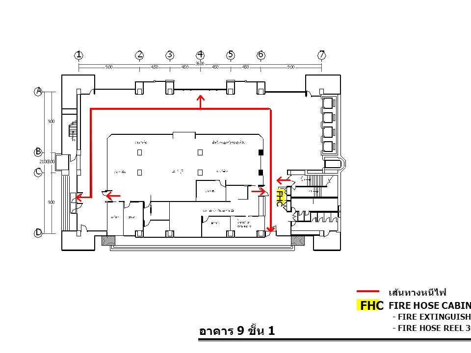 FHC อาคาร 9 ชั้น 1 เส้นทางหนีไฟ FIRE HOSE CABINET FHC