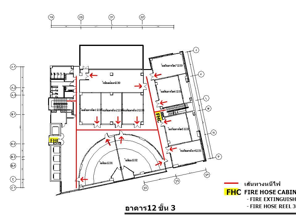 FHC อาคาร12 ชั้น 3 เส้นทางหนีไฟ FIRE HOSE CABINET FHC FHC