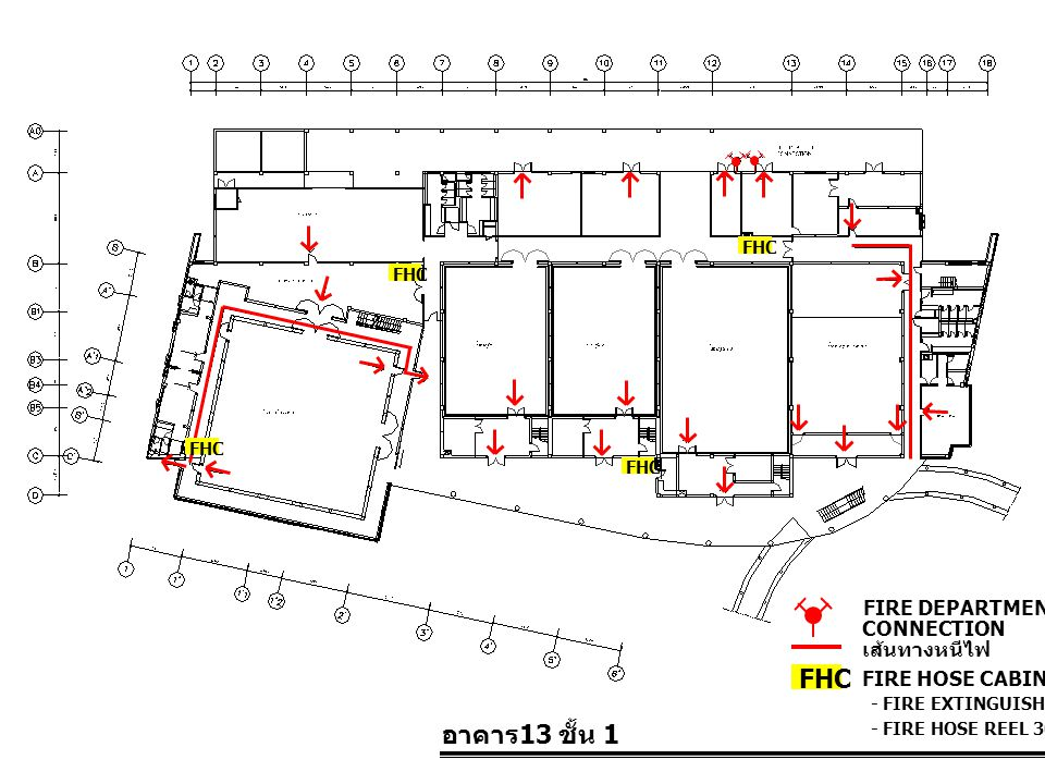 FHC อาคาร13 ชั้น 1 FIRE DEPARTMENT CONNECTION เส้นทางหนีไฟ