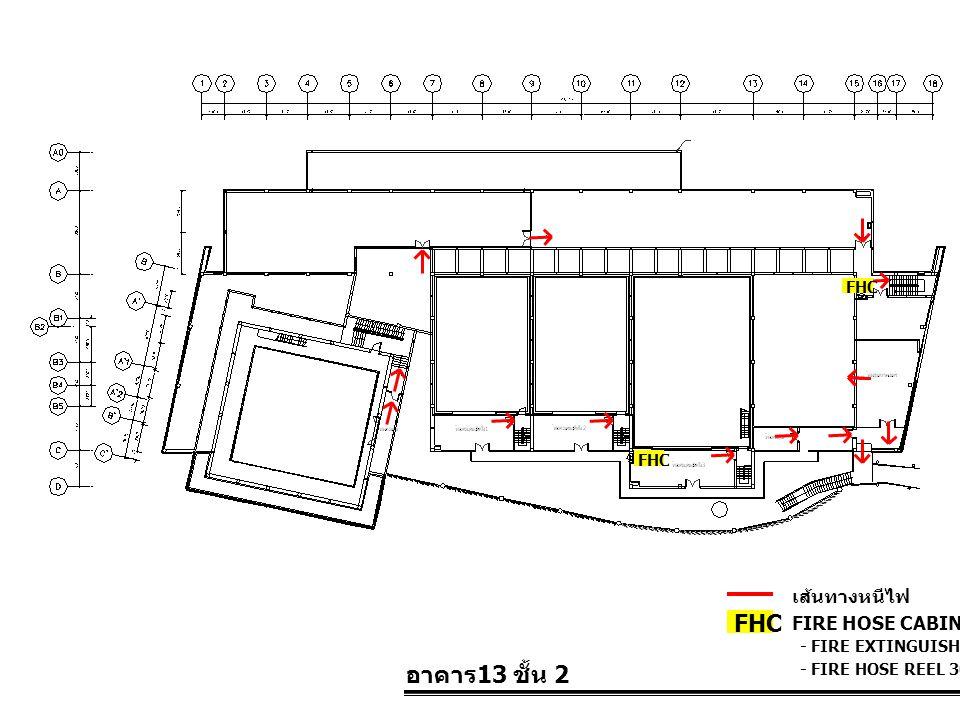 FHC อาคาร13 ชั้น 2 เส้นทางหนีไฟ FIRE HOSE CABINET FHC FHC