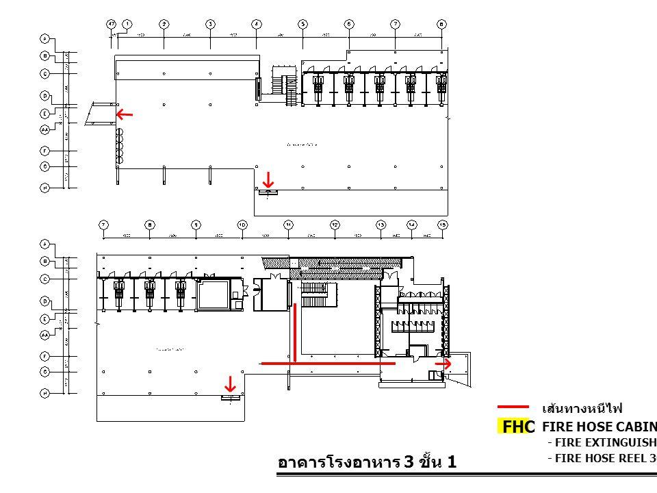 FHC อาคารโรงอาหาร 3 ชั้น 1 เส้นทางหนีไฟ FIRE HOSE CABINET