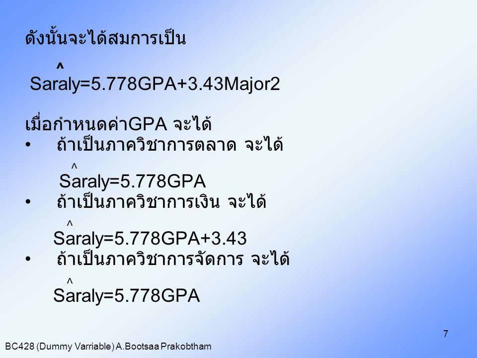 ^ ดังนั้นจะได้สมการเป็น Saraly=5.778GPA+3.43Major2