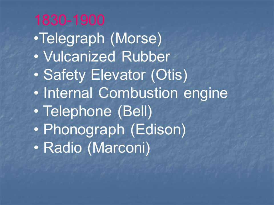Telegraph (Morse) Vulcanized Rubber. Safety Elevator (Otis) Internal Combustion engine.