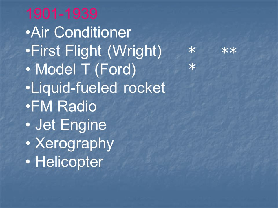 Air Conditioner. First Flight (Wright) Model T (Ford) Liquid-fueled rocket. FM Radio.