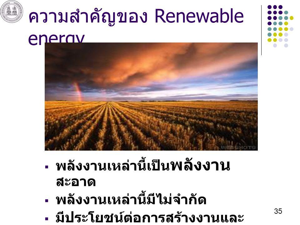 ความสำคัญของ Renewable energy