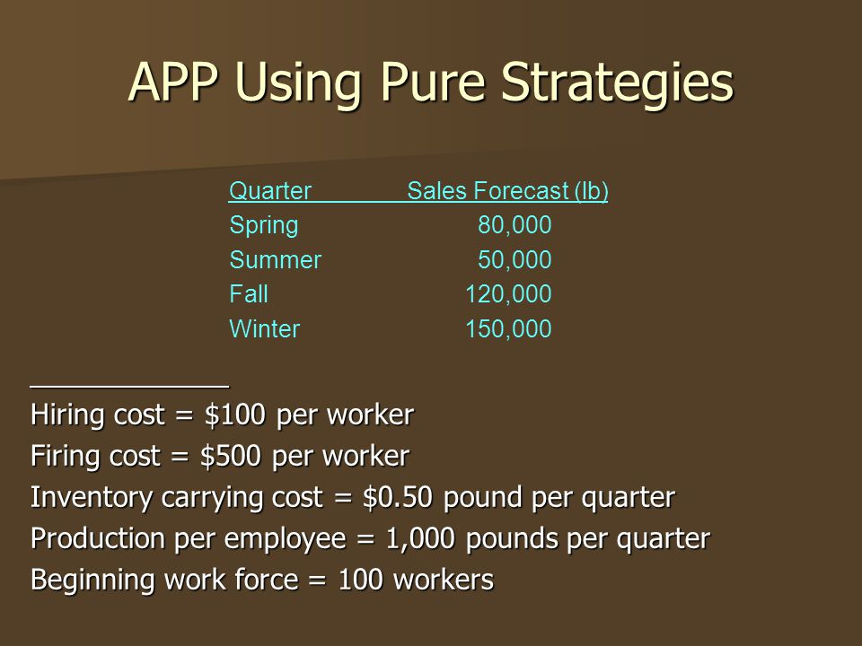 APP Using Pure Strategies