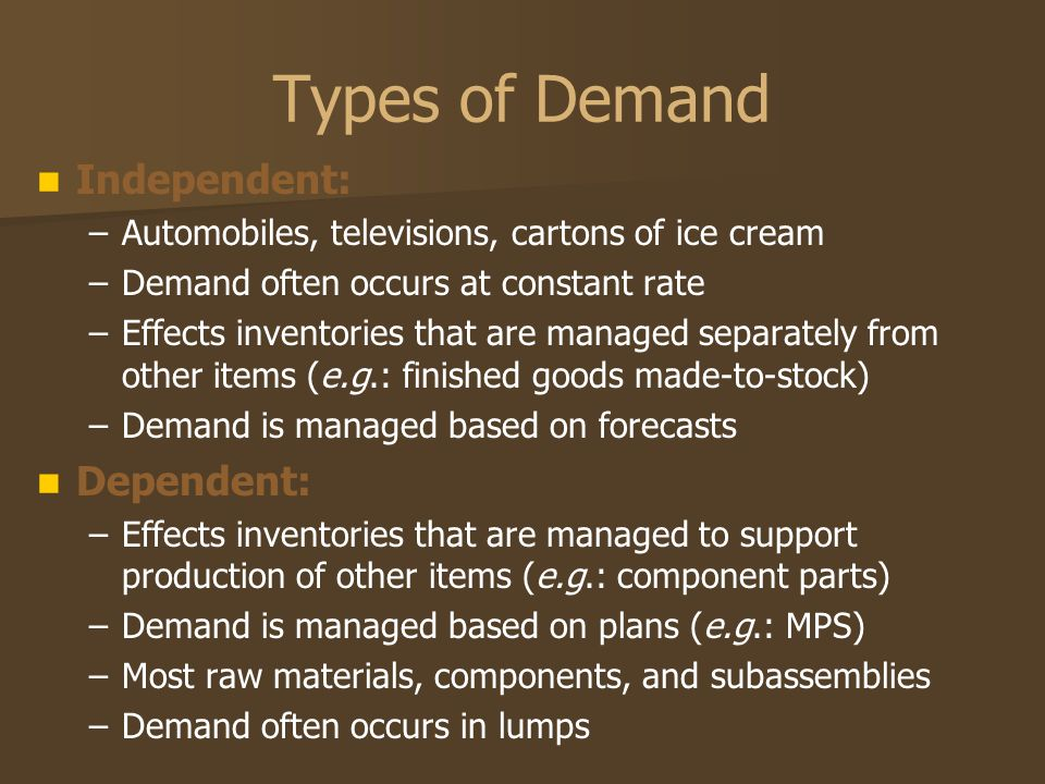 Types of Demand Independent: Dependent:
