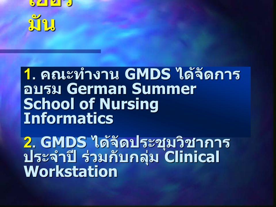 เยอรมัน 1. คณะทำงาน GMDS ได้จัดการอบรม German Summer School of Nursing Informatics.