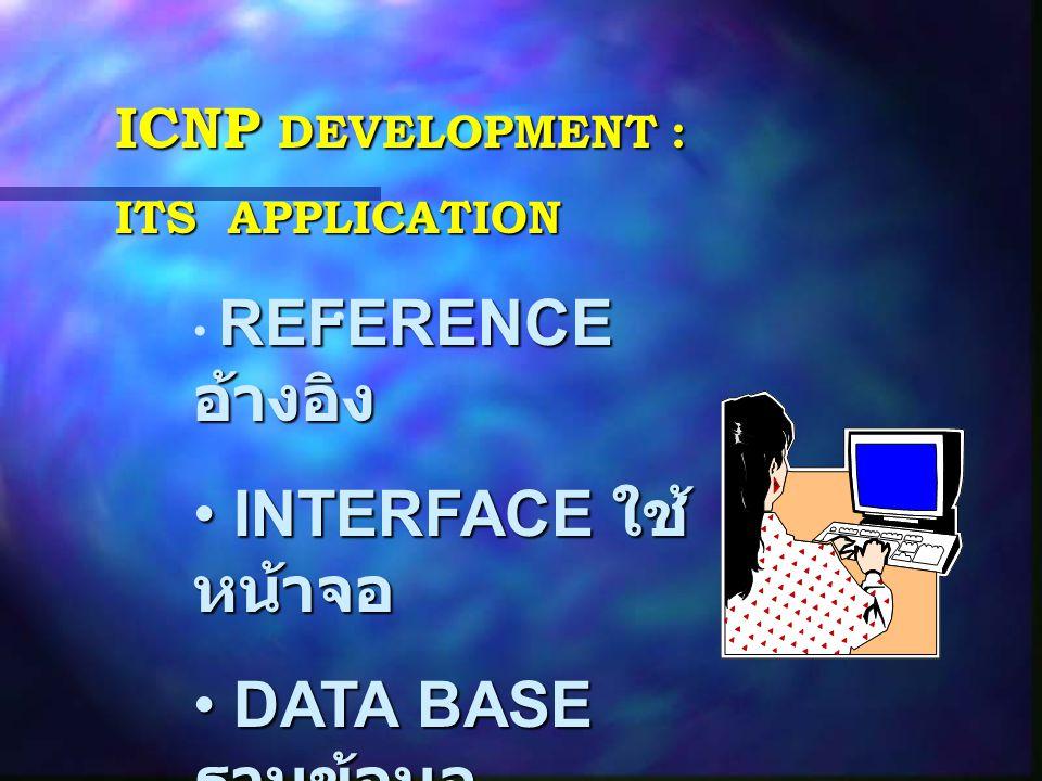 INTERFACE ใช้หน้าจอ DATA BASE ฐานข้อมูล ICNP DEVELOPMENT :