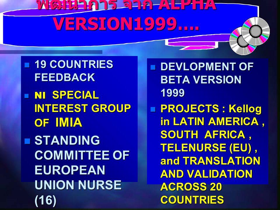 พัฒนาการ จาก ALPHA VERSION1999….