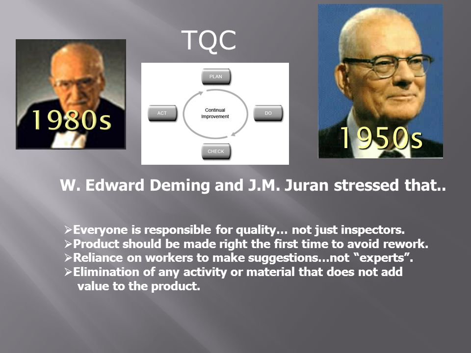 W. Edward Deming and J.M. Juran stressed that..