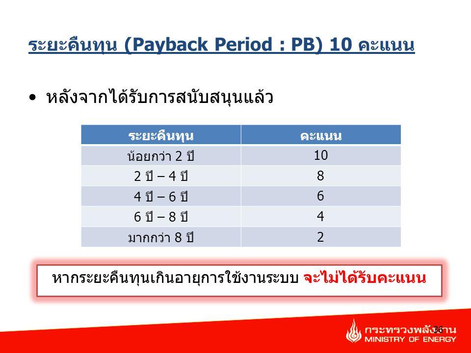 ระยะคืนทุน (Payback Period : PB) 10 คะแนน